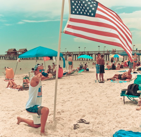 Bringing your own flag to the beach. TFM.