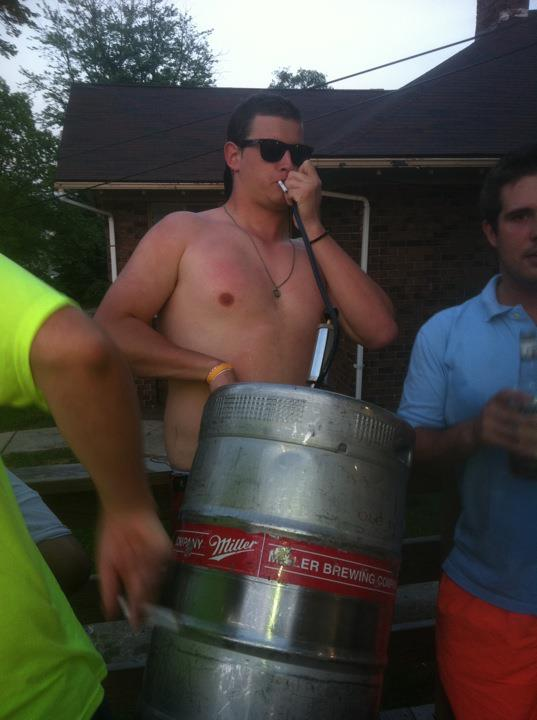 """No, I'm not putting out my cigarette or doing a handstand on this keg."" TFM."