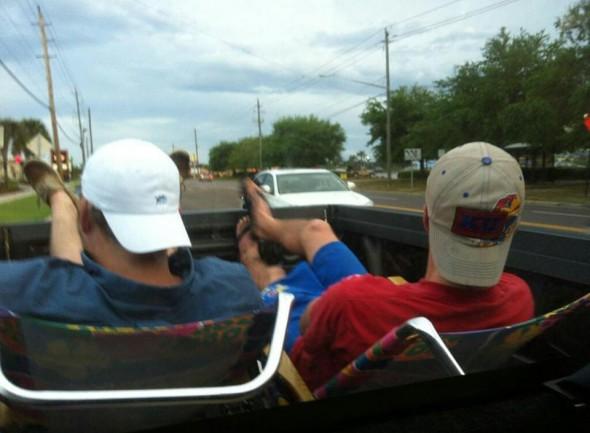 Riding frat style. TFM.