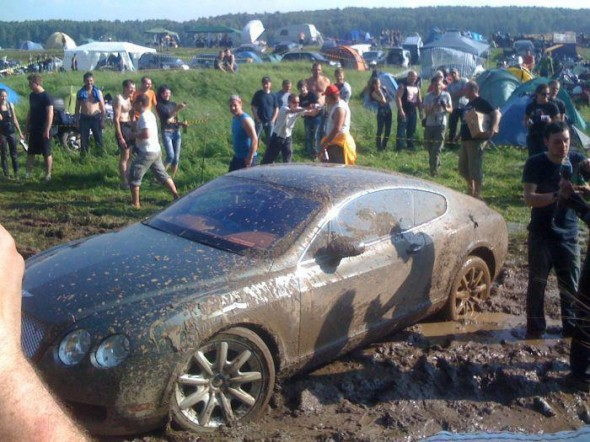 Mudding in a Bentley. TFTC.