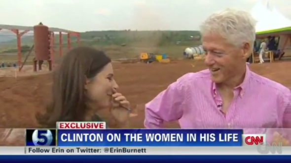 Slick Willy getting reporters wet in a pink oxford while the wife is at work. TFM.