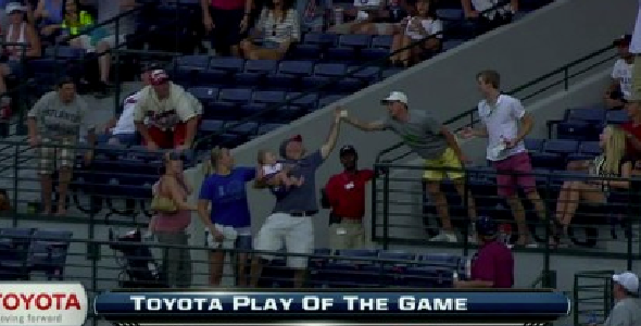 Braves Fan Bare Hands Foul Ball, Is Shitty Parent