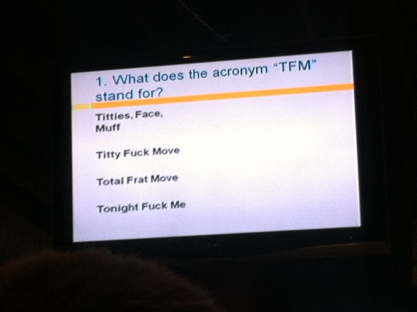 """Actual question at trivia night. The category was """"douchebag terms."""" TFM."""