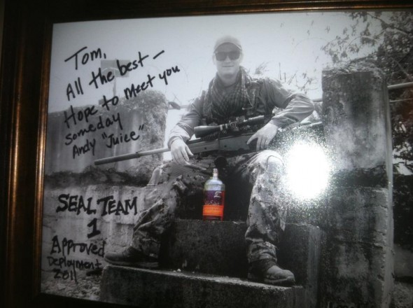 Found this picture in Tom Bulleit's office. Apparently SEAL snipers drink Bulleit to calm their nerves...of steel.