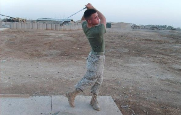 Still finding time to work on my golf game in Iraq. TFM.