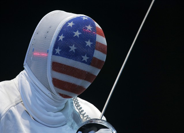 Team USA's fencing masks. TFM.