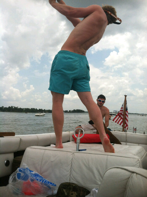 Hitting golfballs off the boat. TFM.