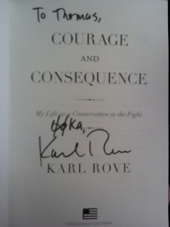 Brother Rove signing his book to you with the motto. TFM.
