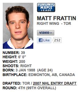 My new favorite hockey player: Matt Frattin, right wing. TFM.
