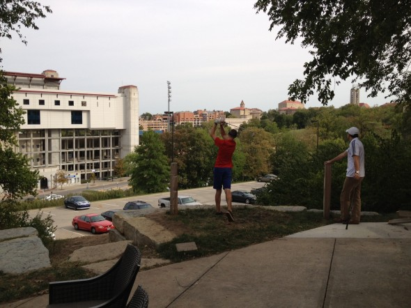 Teeing off the fratio towards the stadium. TFM.