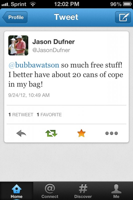 Jason Dufner's priorities. TFM.