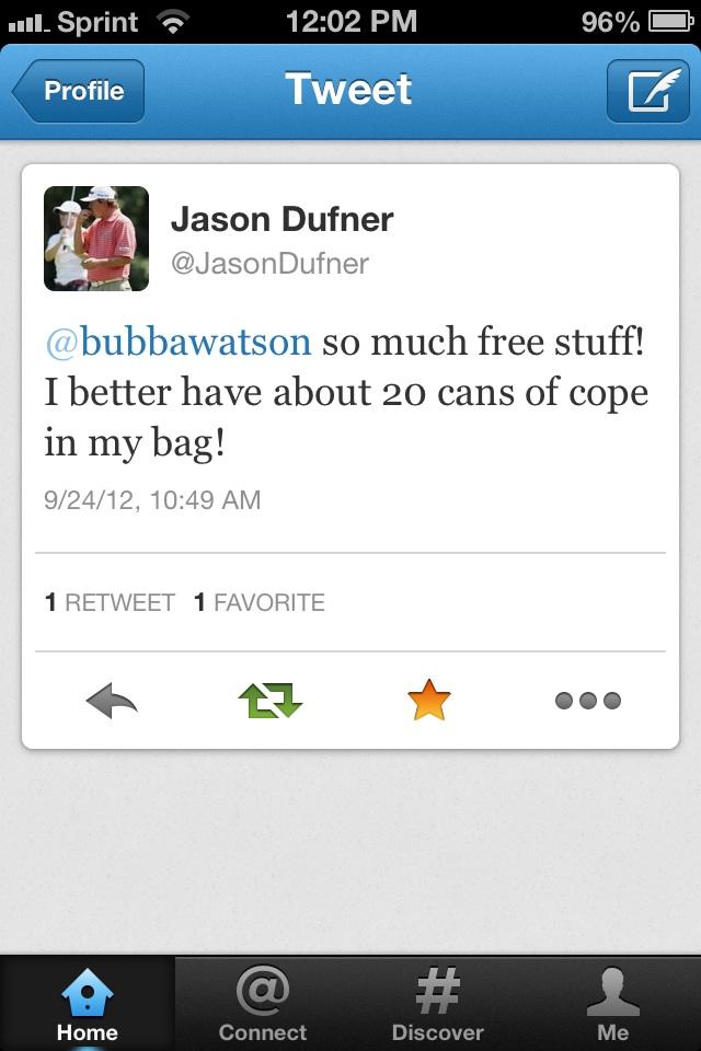 Jason Dufner's priorities. TFM.
