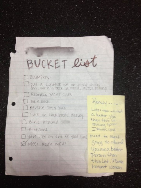 A brother's mom found his bucket list from senior year. TFM.