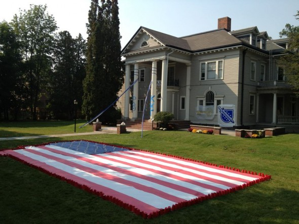 Fraternity brings America to sorority's front lawn for Homecoming. TFM.