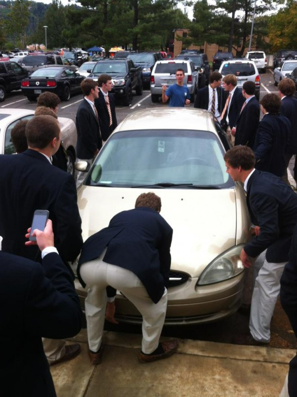 Pledges moving a GDI's car on gameday. TFM.