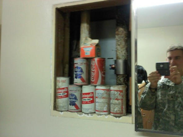 During room inspection these soldiers found a secret compartment with beer from 1974. TFM.