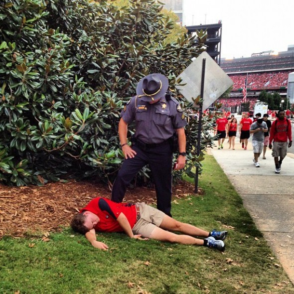 Some people just can't handle Saturday in Athens. TFM.