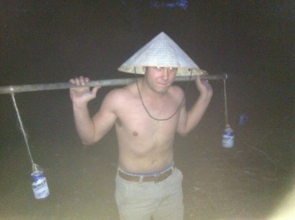 This pledge has to retrieve beer in a special way. TFM.