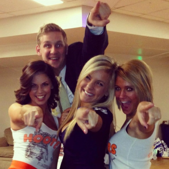 The photo bomb powerpoint over some hooters girls on Halloween. TFM.