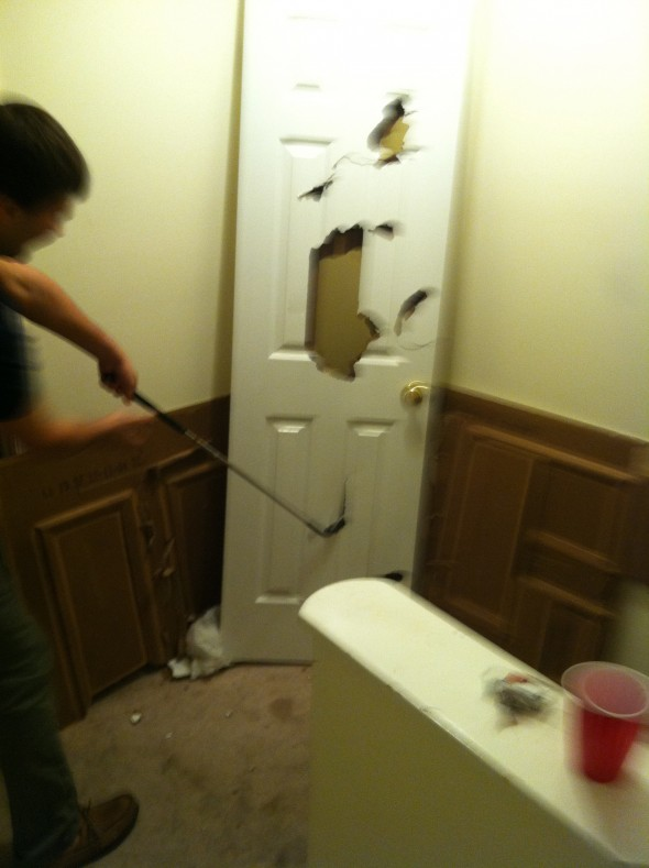 Using the 9 iron to blackout destroy inanimate objects. TFM.