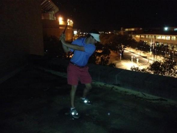 Hitting golf balls at GDIs on campus. TFM.
