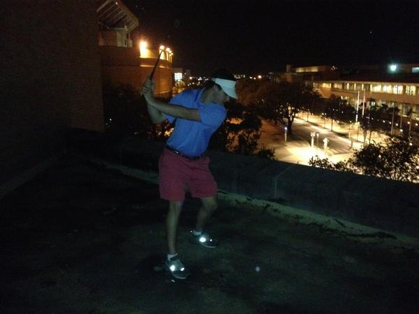 Hitting golf balls at GDIs on campus. TFM.