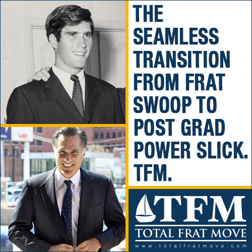 The seamless transition from frat swoop to post grad power slick. TFM.