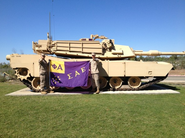 Forcing the chapter president to sneak out of work to take this picture just because I'm a sergeant. TFM.