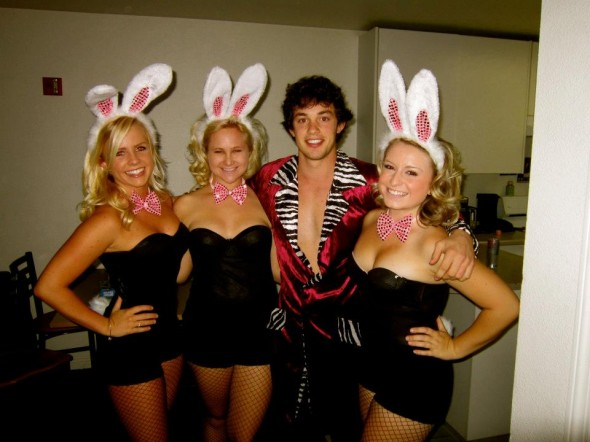 Hugh Hefner and the Girls Next Door.
