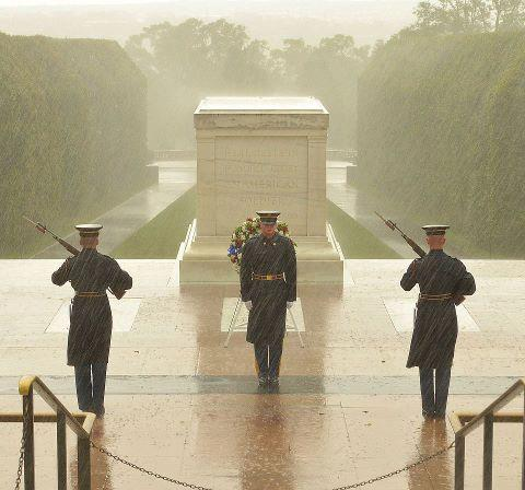 Guarding the Tomb of the Unknown Soldier during a hurricane. TFM.