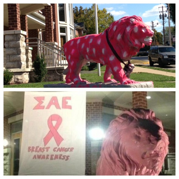 Turning the vandalism of our lion into a philanthropy event overnight. TFM.
