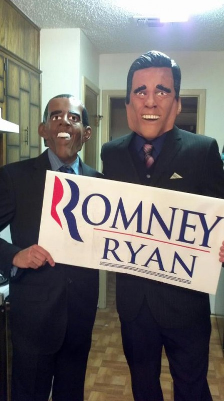 Obama campaigning for Romney at Halloween party.