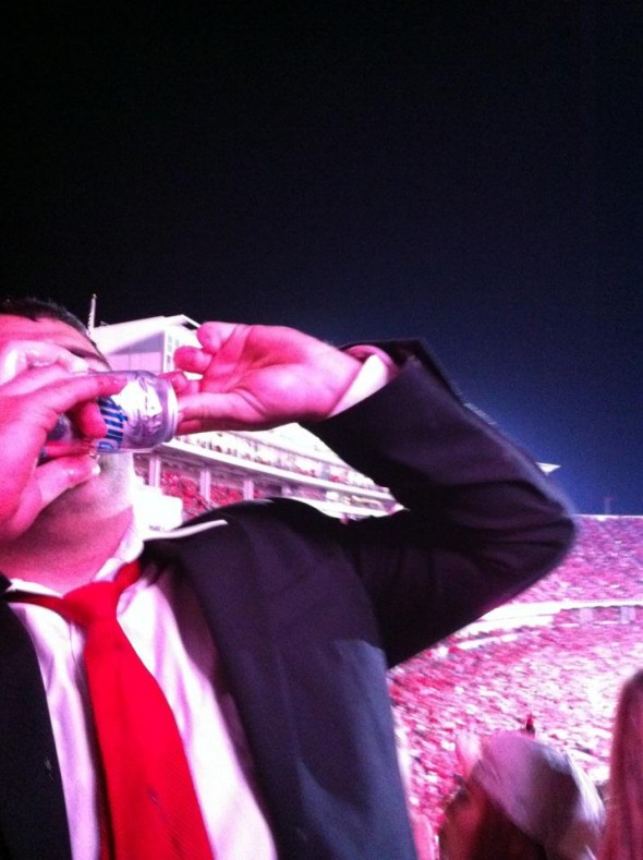 Shotgunning under the lights with 106,000 of my closest friends. TFM.