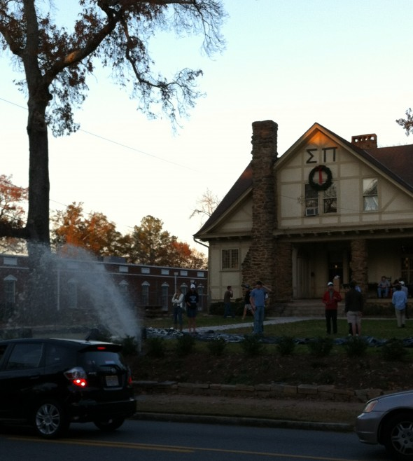 Breaking water mains while setting up for a band party at the frat castle. TFTC.