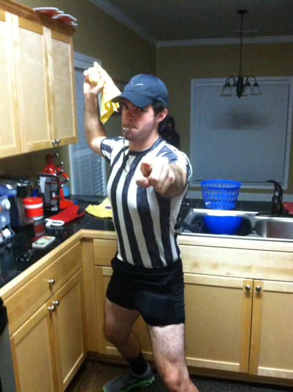 Using the replacement ref costume to make bad decisions all night. TFM.