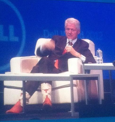 Clinton rocking his Longhorn boots. TFM.