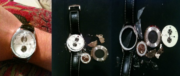 R.I.P. IWC Chronograph Mechanical, $9,000 casualty of holiday raging. TFM.