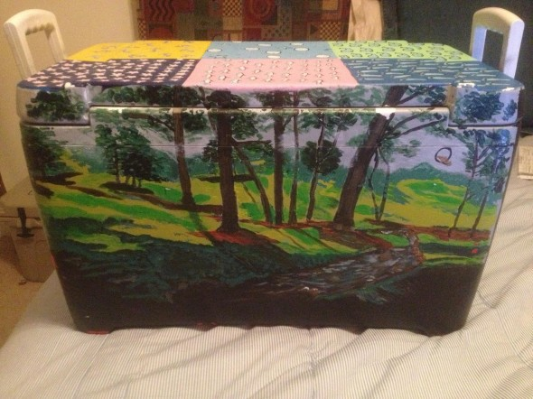 Hand-painted championship golf course scenery on your cooler. TFM.