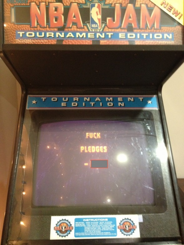 Even the house NBA Jam machine is excited for hell week. TFM.