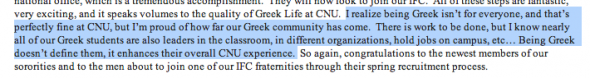 The Dean of Students emailing everyone to remind them that it's okay to not be Greek, but being Greek is better. TFM.