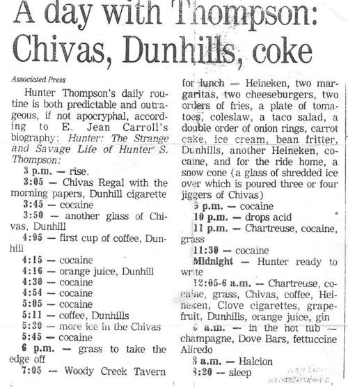 Hunter S. Thompson's daily routine. TFM.