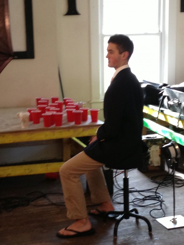 Taking your composite photo in flip-flops while surrounded by beer pong remnants. TFM.