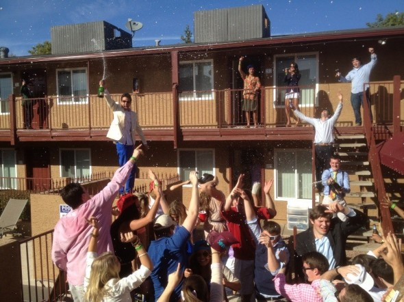 Champagne shower. TFM.