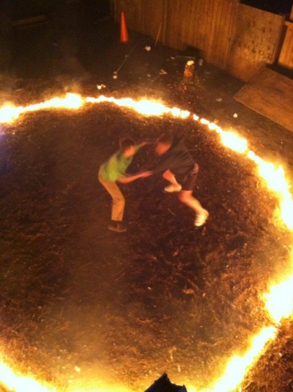 Two pledges enter the ring of fire, one pledge leaves. TFM.