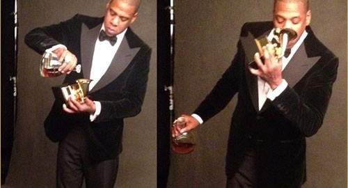 Drinking out of a Grammy. TFM.