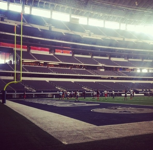 Intramural football game at Cowboys Stadium. TFM.