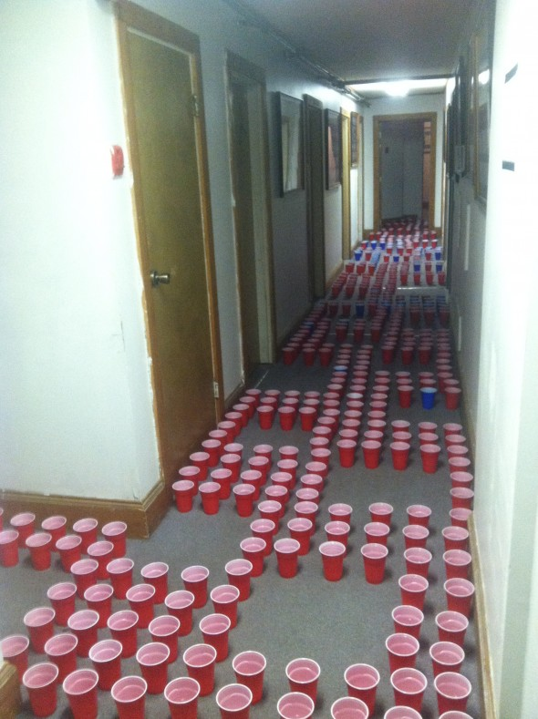 Testing the coordination of our active brotherhood with water-filled Solo cups. TFM.