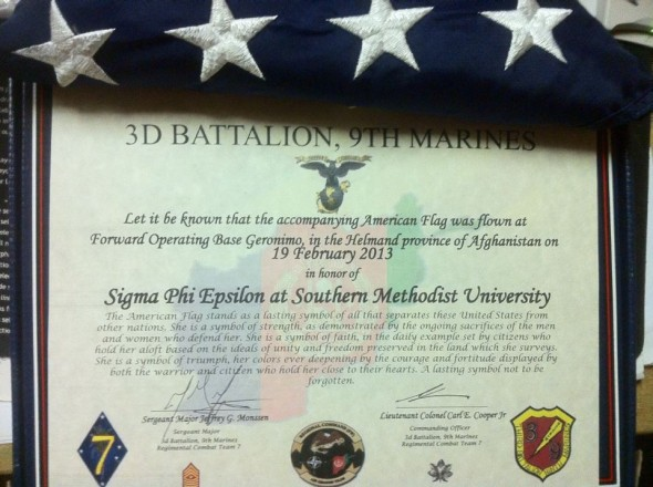 Having an American flag flown over Afghanistan in your honor. TFM.