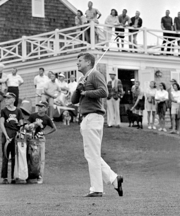 JFK golfing in Loafers. TFM.