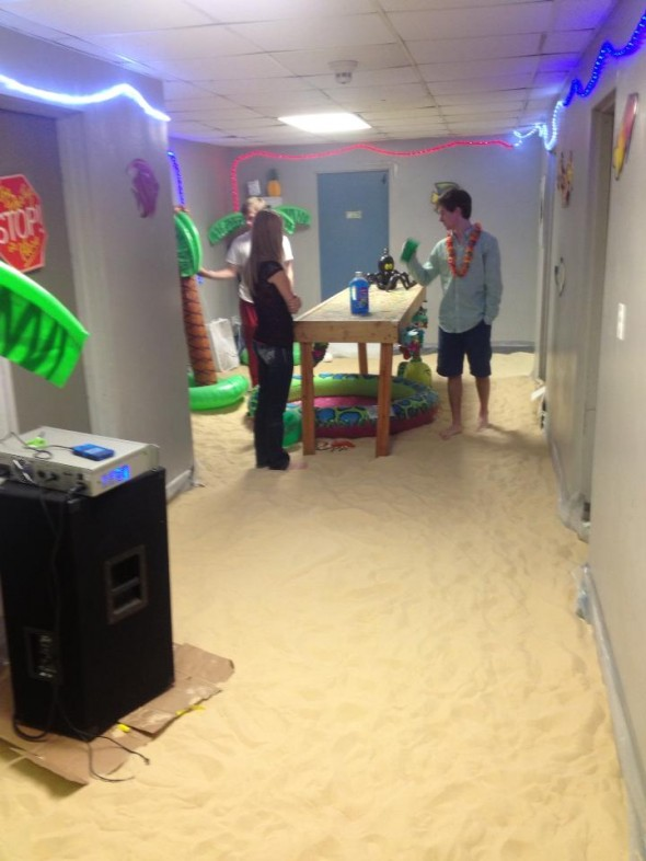 Set up for the beach party on the 3rd floor. TFM.